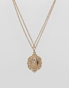 Ожерелье в винтажном стиле с подвеской-медальоном ASOS - Золотой