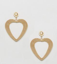 Серьги-гвоздики с сердечком и слоганом Love Monki - Золотой