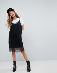 Платье-комбинация мини с кружевными вставками ASOS - Черный
