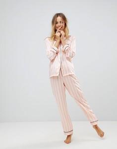 Атласная пижама в полоску Loungeable - Розовый