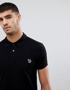 Черное поло узкого кроя с логотипом-зеброй PS Paul Smith - Черный