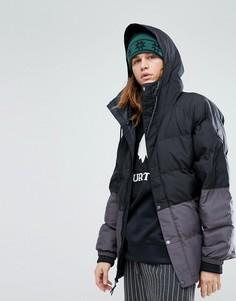 Серо-черная дутая куртка с капюшоном Burton Snowboards Traverse - Черный