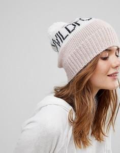 Вязаная шапка-бини с помпоном Wildfox - Розовый