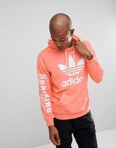 Розовый худи с принтом Hu Hiking на рукаве adidas Originals x Pharrell Williams CY7875 - Розовый