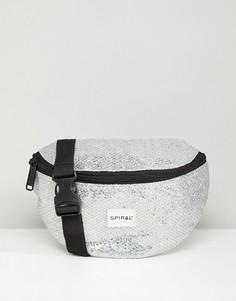 Серебристая сумка-кошелек на пояс Spiral Glamour - Серебряный