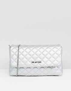 Стеганая сумка на плечо с отделкой металлик Love Moschino - Серебряный