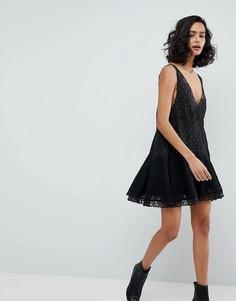 Платье-комбинация трапециевидного кроя Free People Any Party - Черный