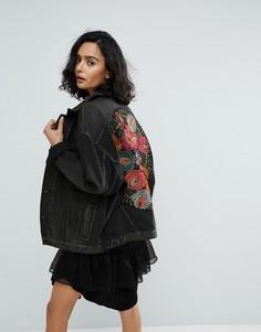 Джинсовая оверсайз-куртка с вышивкой Free People - Черный