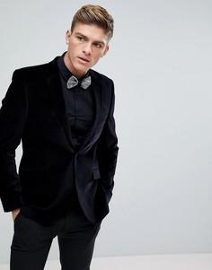 Черный бархатный блейзер Burton Menswear - Черный