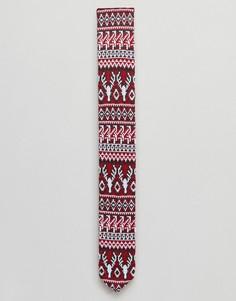 Новогодний галстук с узором Фэйр-Айл ASOS - Красный