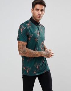 Зеленая футболка-поло с принтом птиц River Island - Зеленый