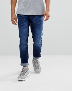 Синие выбеленные джинсы слим River Island - Синий