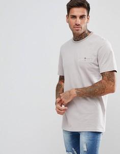 Песочная футболка с круглым вырезом и карманом River Island - Светло-бежевый