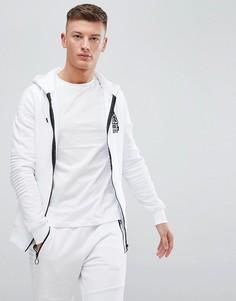 Белая куртка на молнии с отделкой в рубчик на рукавах River Island - Белый