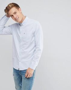 Синяя оксфордская рубашка узкого кроя в полоску с воротником на пуговицах Hollister - Синий
