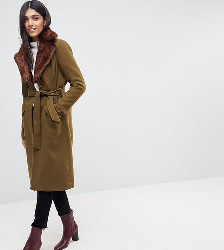 Длинное шерстяное пальто с воротником из искусственного меха Vero Moda Tall - Черный