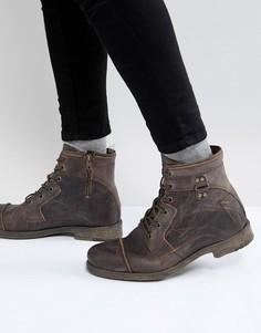 Коричневые кожаные ботинки в стиле милитари River Island - Коричневый