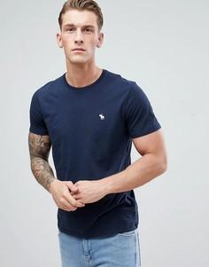Темно-синяя узкая футболка с логотипом Abercrombie & Fitch - Темно-синий