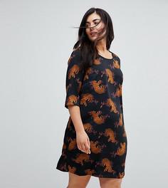 Платье с рукавами 3/4 и принтом леопардов Junarose - Мульти