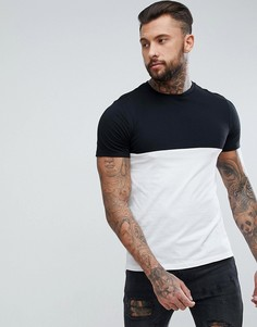 Черно-белая футболка колор блок New Look - Черный