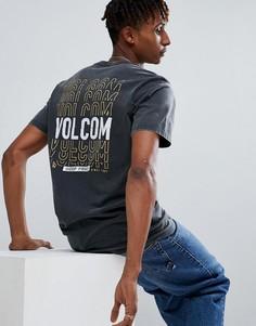Футболка с принтом логотипа на спине Volcom - Черный