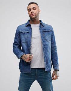 Выбеленная утепленная джинсовая рубашка навыпуск G-Star 3301 - Синий