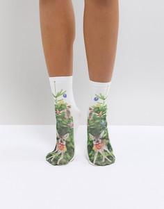 Новогодние носки с оленями Monki - Мульти