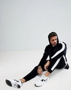 Черный велюровый спортивный костюм зауженного кроя с боковыми вставками boohooMAN - Черный