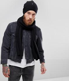 Подарочный набор из шапки-бини и шарфа с добавлением овечьей шерсти AllSaints - Черный