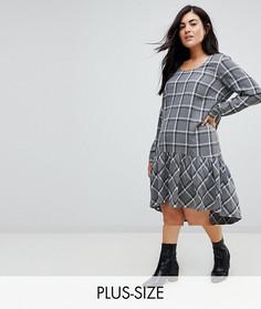 Свободное платье в клетку Junarose - Серый