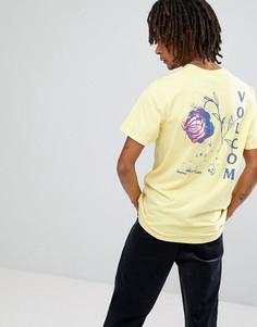 Футболка с принтом розы на спине Volcom - Желтый