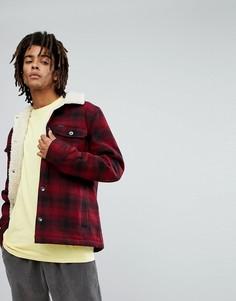 Куртка в клетку с воротником борг Volcom Keaton - Красный