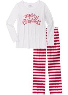 Пижама из органического хлопка (темно-красный/белый) Bonprix