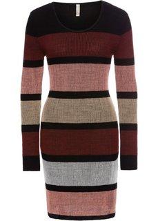 Вязаное платье (черный/красный/ярко-розовый в полоску) Bonprix