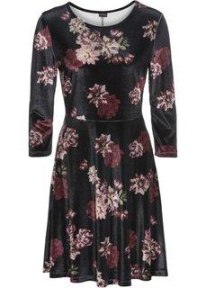 Платье из бархата с цветочным узором (черный/темно-красный/дымчато-розовый в цветочек) Bonprix