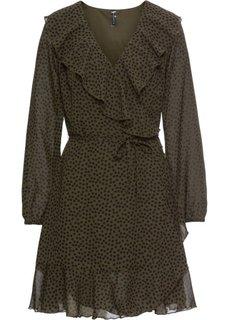 Платье с запахом и воланами (темно-оливковый/черный в горошек) Bonprix