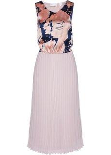 Длинное плиссированное платье (розовый матовый/темно-синий с принтом) Bonprix