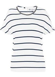 Полосатая футболка с бусинами (белый/темно-синий в поперечную полоску) Bonprix