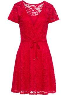 Платье из кружева с пайетками (красный) Bonprix