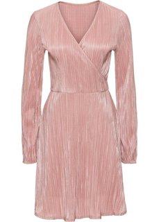 Платье из блестящего трикотажа с плиссировкой (розовый) Bonprix