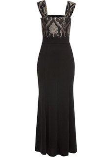 Платье с парчовым узором (черный) Bonprix