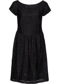 Платье из кружева с широким вырезом (черный) Bonprix