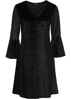 Платье из искусственного бархата с воланами (черный) Bonprix
