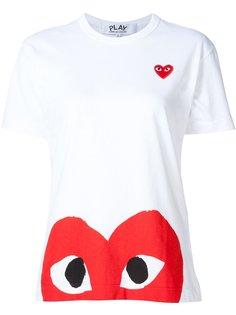 футболка с принтом и аппликацией в виде сердец Comme Des Garçons Play