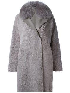 двубортное пальто из овчины Guy Laroche Vintage
