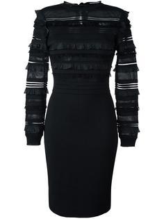 приталенное платье с оборками Oscar de la Renta