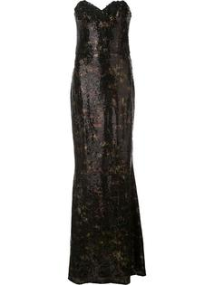 длинное платье без бретелей с пайетками Marchesa Notte