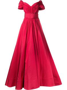 расклешенное вечернее платье с открытыми плечами Christian Siriano