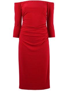 платье с открытыми плечами и сборкой на талии Norma Kamali