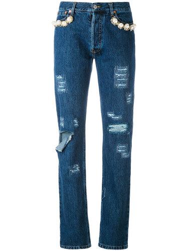 декорированные джинсы с потертой отделкой Forte Couture